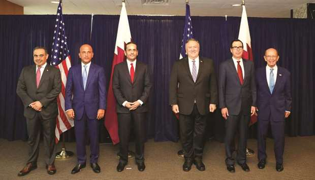 HE Sheikh Mohamed and Pompeo with Qatari and US delegates who took part in the 3rd Qatar-US Strategi