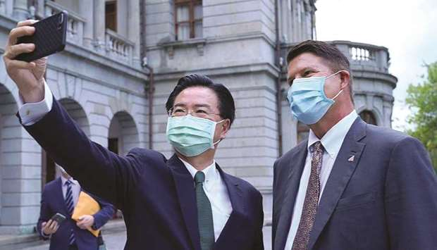 This handout picture taken and released by Taiwan's ministry of foreign affairs yesterday shows Taiw