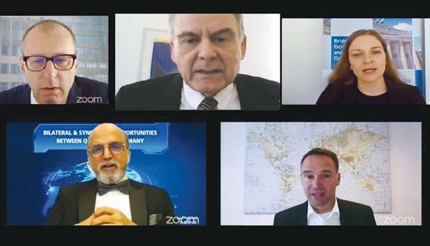 Panellists at the Doha Bank webinar on synergistic relations between Qatar and Germany.