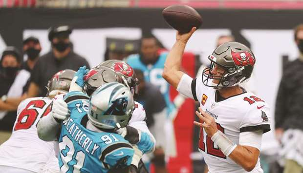 Tampa Bay Buccaneers quarterback Tom Brady (12) throws a pass against the Carolina Panthers during t