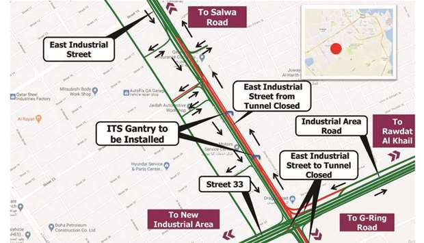 Temporary traffic closure on the East Industrial Road