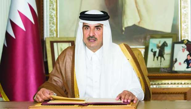 His Highness the Amir Sheikh Tamim bin Hamad al-Thani addressing the opening session of the 75th UN