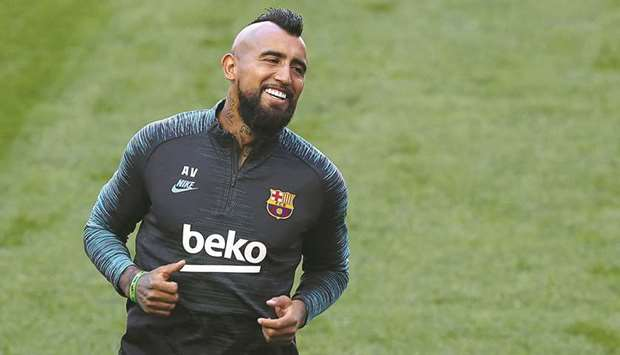 Barcelona's Arturo Vidal during a training session in Lisbon on August 13, 2020. (Reuters)