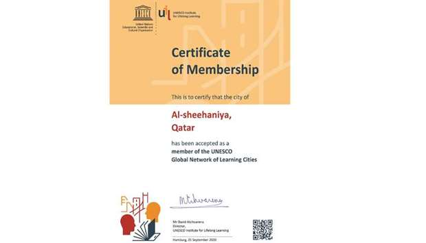 Al Sheehaniya is the third Qatari municipality to obtain the Unesco Global Network of Learning Citie