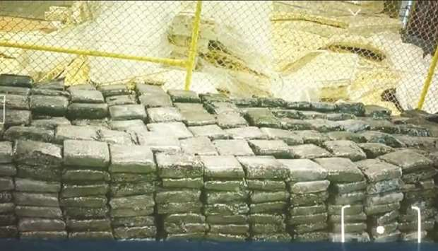 The seized 'tambaku' was found stuffed in 1,102 bags hidden inside a shipment of cotton mattresses.