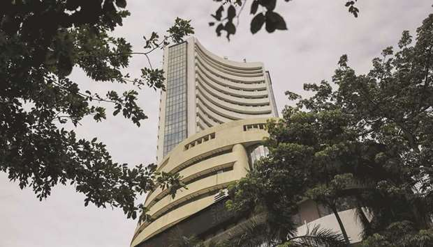 The Bombay Stock Exchange building in Mumbai. The Sensex closed up 835 points to 37,388 and the broa