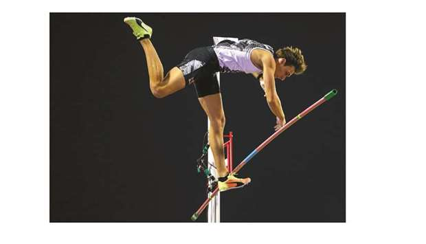 Sweden's Armand Duplantis competes in the pole vault during the IAAF Diamond League.