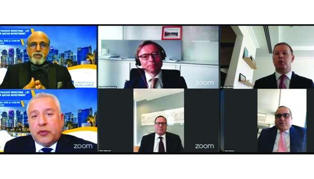 Doha Bank CEO Dr R Seetharaman with other panelists during the webinar on the QETF.