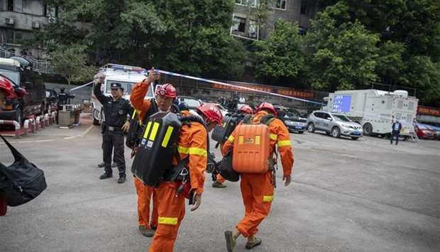 Rescuers arrive at the Songzao Coal Mine