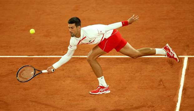 Serbia's Novak Djokovic in action during his French Open first round match against Sweden's Mikael Y