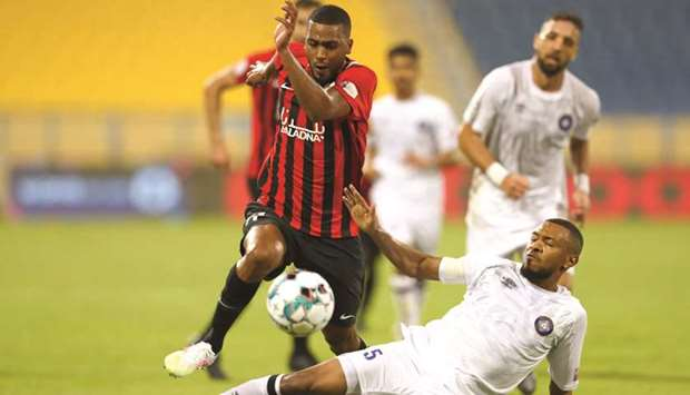 Action from the match between Al Rayyan (in red and black) and Al Sailiya (in white) on Thursday.