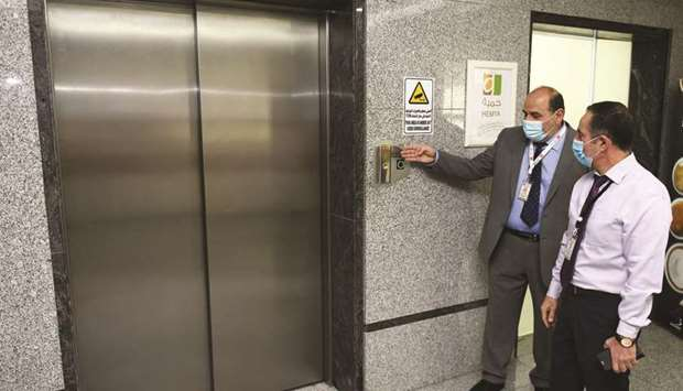 Al-Ahli Hospital officials display the working of the elevators.  PICTURES: Shemeer Rasheed