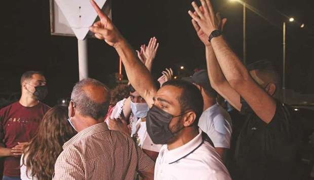 Arab-Israelis chant slogans in support of the recaptured four Palestinians, of the six fighters who