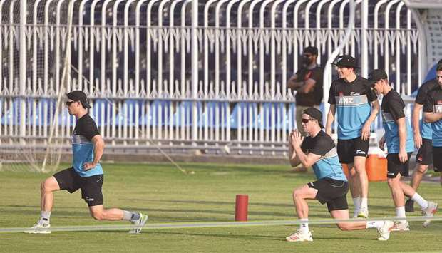New Zealand players warm up during a practice session in Rawalpindi, Pakistan, yesterday. (AFP)