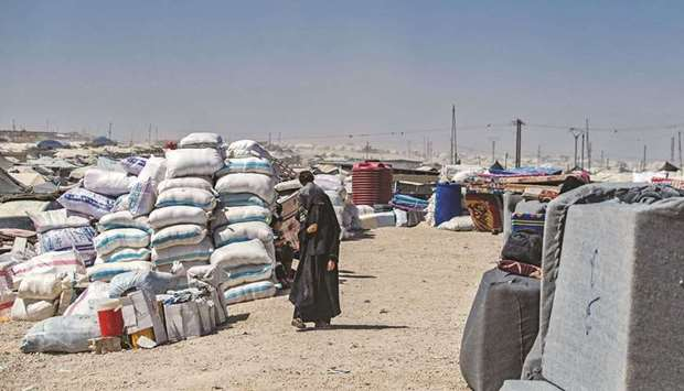 A picture taken at the Al-Hol camp, which holds relatives of suspected Islamic State (IS) group figh