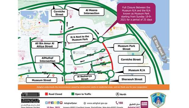 Temporary road closure between Museum Roundabout and Museum Park Roundabout
