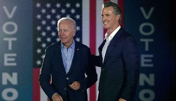 (File photo) President Joe Biden with Governor Gavin Newsom (right), who is facing a recall election