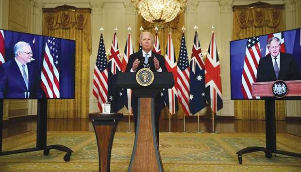 Biden participates is a virtual press conference on national security with British Prime Minister Bo