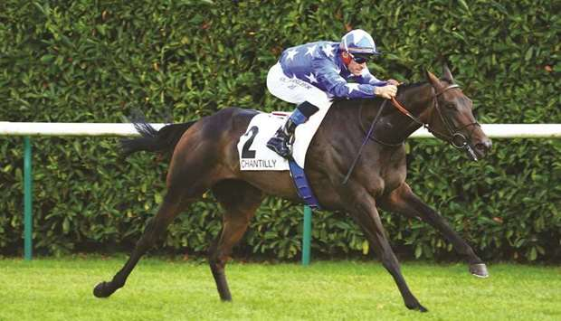 Olivier Peslier rides Millau to victory in the Prix de la Galerie des Cerfs in Chantilly yesterday.