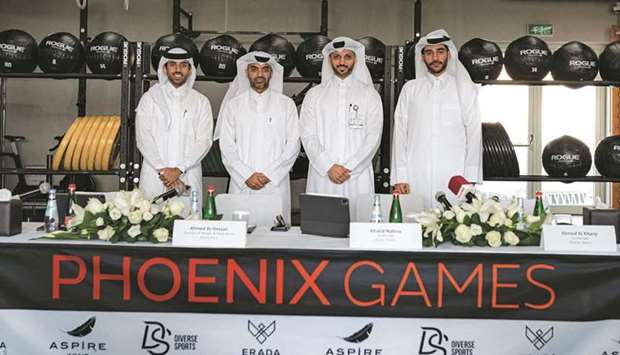Organisers of the Phoenix Games fitness competition pose after a press conference yesterday.