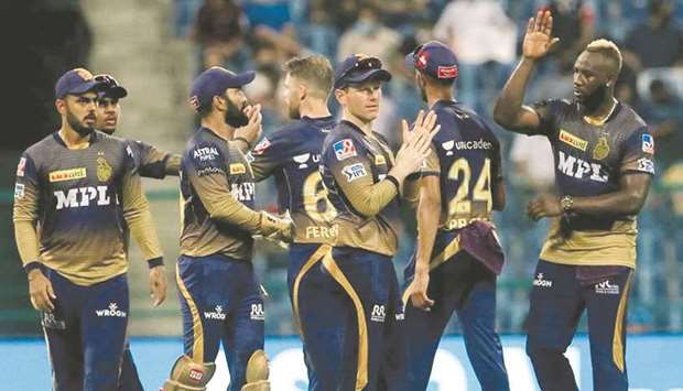 Kolkata Knight Riders players celebrates the wicket of Devdutt Padikkal (not pictured) of Royal Chal