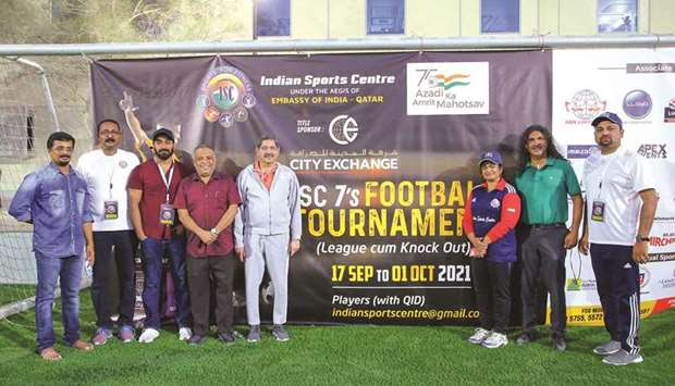 Indian Sports Centre president Dr Mohan Thomas and other officials during opening ceremony of the IS