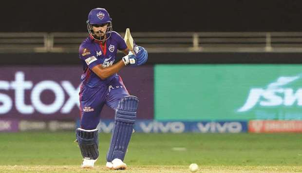 Shreyas Iyer of Delhi Capitals in action during IPL match against the Sunrisers Hyderabad at t