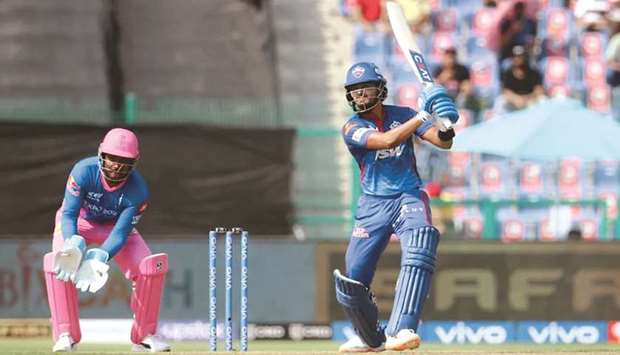 Shreyas Iyer of Delhi Capitals plays a shot during the Vivo Indian Premier League match against the