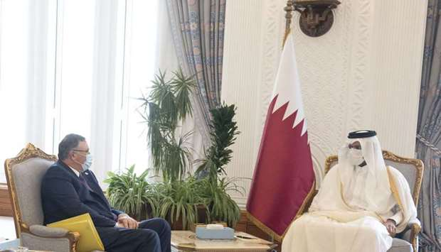 His Highness the Deputy Amir Sheikh Abdullah bin Hamad Al-Thani meets with the Chairman of the Board