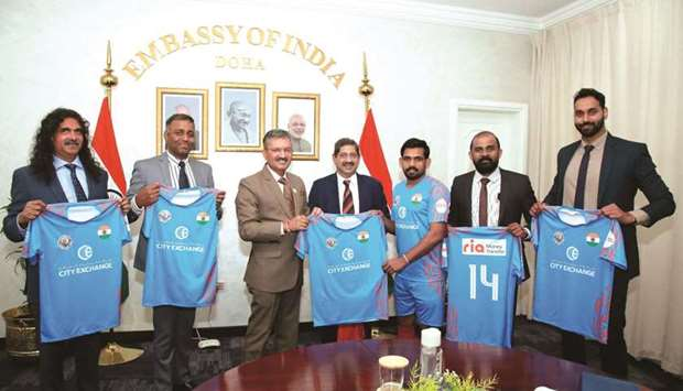 Dr Deepak Mittal, ambassador of India to Qatar, unveiled the Indian team's jersey for the Community