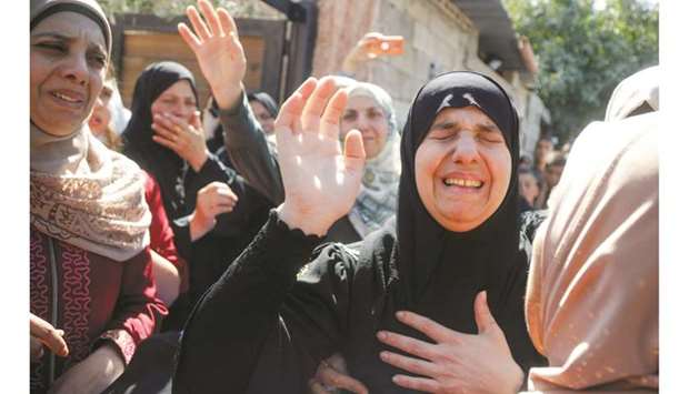Mother of Palestinian Osama Soboh, who was killed by Israeli forces during clashes in a raid, mourns