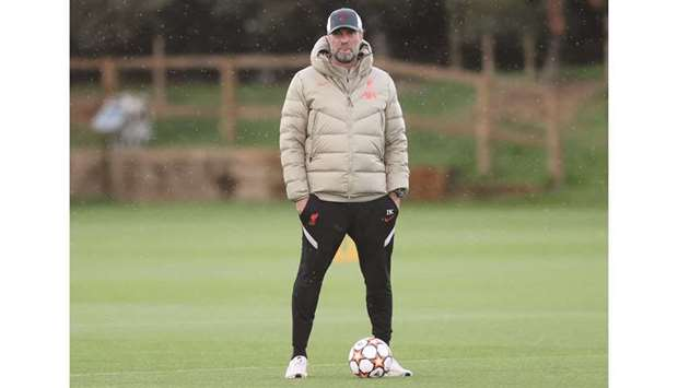 Liverpool manager Juergen Klopp during a training session at Melwood in Liverpool yesterday. (Reuter