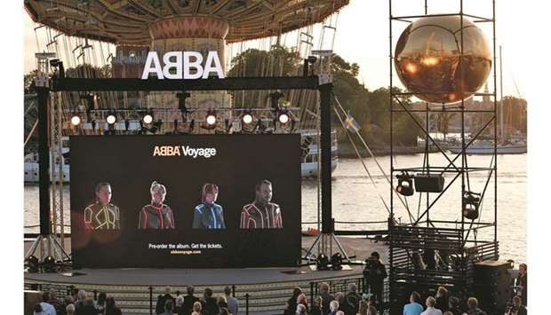 Members of the Swedish group ABBA are seen on a display during their Voyage event at Grona Lund, Sto