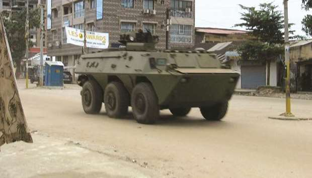 An army vehicle is seen at Kaloum neighbourhood during an uprising by special forces in Conakry, Gui