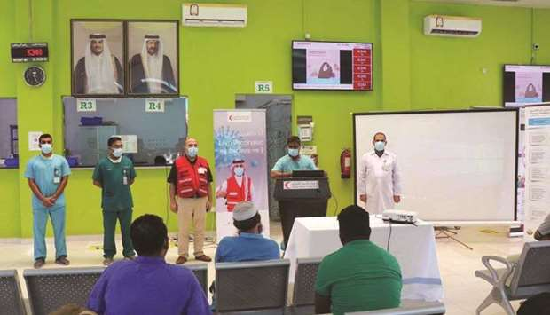 QRCS health educators visited four workers' health centers over three days and organised lectures on