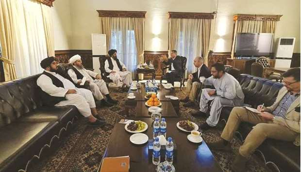 Mullah Baradar, Head of the Taliban's Political Office, meets with members of the Red Cross in Kabul