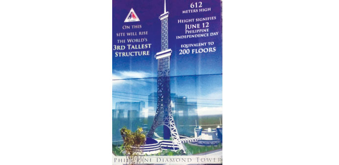 A poster advertising the Philippine Diamond Tower.