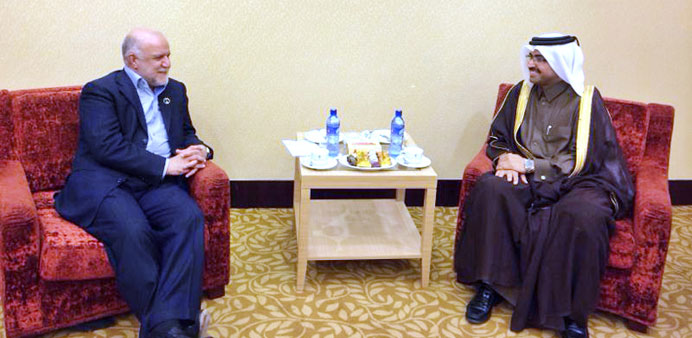 HE the Minister of Energy and Industry Dr Mohamed bin Saleh al-Sada with Bijan Namdar Zanganeh, Iran