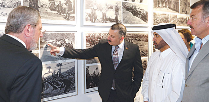 Dr al-Sulaiti and other dignitaries at the exhibition.