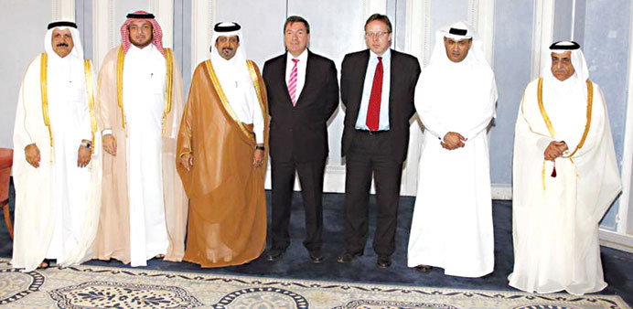 Minister al-Hajri with the ambassadors of the Netherlands and the United kingdom.