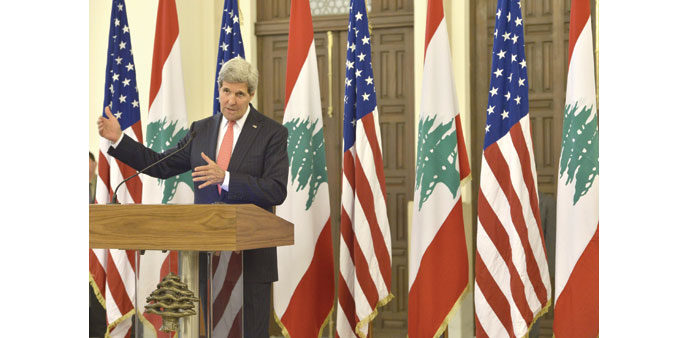 US Secretary of State John Kerry addressing a news conference at the government palace in Beirut yes
