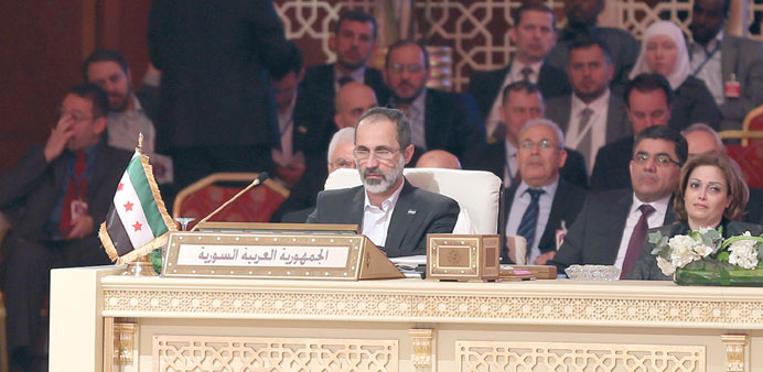 Syrian opposition chief Moaz al-Khatib attending the summit.