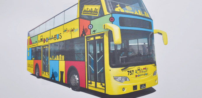 The double-decker tourist bus to be launched by Doha Bus Company.