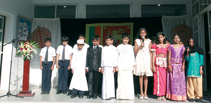 Students performing a song at the event.