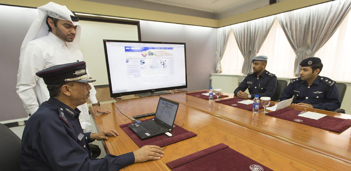 Senior Ministry of Interior officials at the launch of the website.