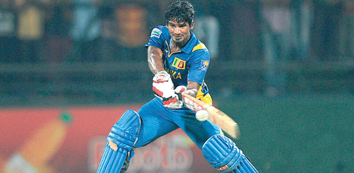 Sri Lankan cricketer Kusal Janith Perera belts the Bangladeshi bowling at The Pallekele Internationa