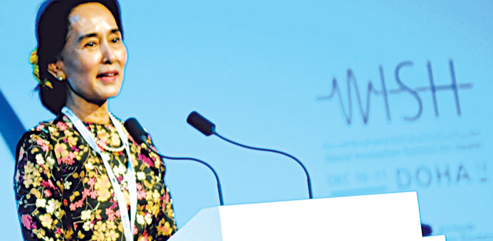 Suu Kyi delivering a keynote speech at a plenary during WISH yesterday. PICTURE: Jayan Orma