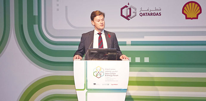 Rob Sherwin addressing the 2nd Doha Carbon and Energy Forum recently.