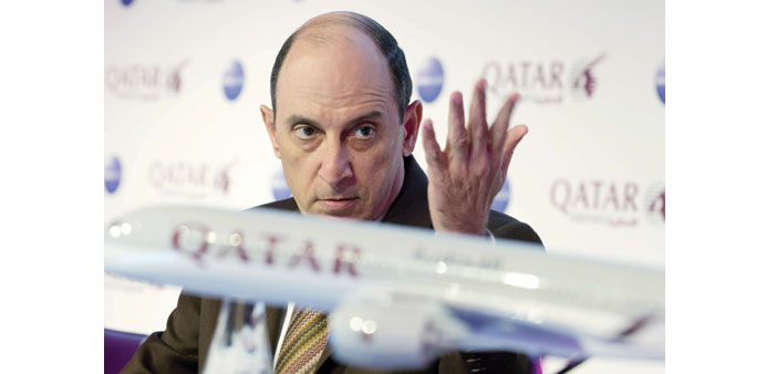 Al-Baker attends a news meet at the ITB Berlin yesterday. Qatar Airways was set to take delivery of