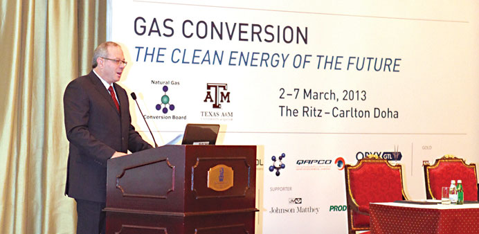Louw speaking at the 10th Natural Gas Conversion Symposium in Doha.